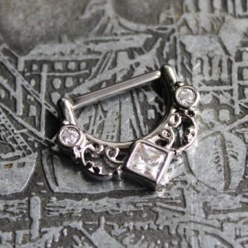 Clicker do sutka ze stali ornament z kryształkami SREBRNY
