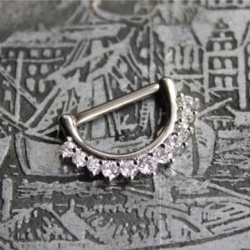 Clicker do sutka ze stali z kryształkami SREBRNY
